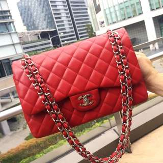 💕Save 3k!💕 Full Set! Excellent Condition Chanel Jumbo Double Flap Bag In Bright Red Caviar and SHW