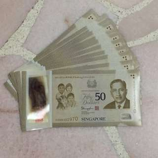 Singapore SG50 Commemorative $50 Notes