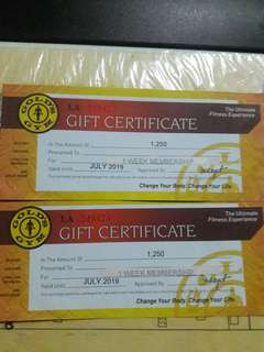 gift certificate golds gym good for 1 week 2 pcs