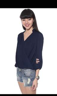 Love Bonito Aldene Drape Blouse (black small)