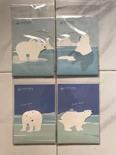 4 packs of polar bear series post-it pads