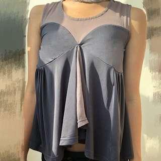 性感浪漫時尚氣質半透明絲質緞面上衣