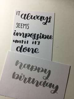 Handmade Calligraphy Cards and Others