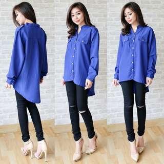 [Carla blus AK] blouse wanita twiscone biru