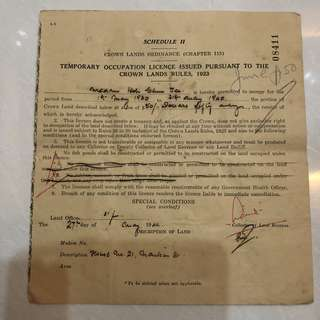 Vintage Old Document - very old 1940 Temporary Occupation Licence Document