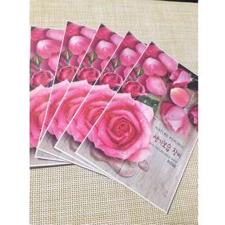 Korean Skincare Bundle #2 (Dull Skin): Nature Republic Mask Sheet in Rose (5 pcs)