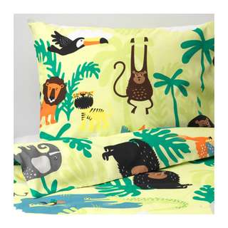 [IKEA] DJUNGELSKOG Quilt cover and pillowcase, animal, green / SINGLE only