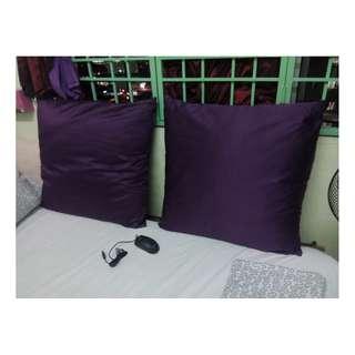 2pcs Cushion Pillow Purple Bantal High Quality Firm Like New