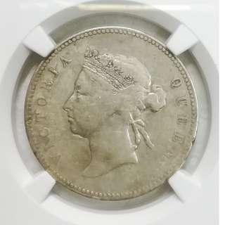 1894年 香港半圓 PCGS F detail Hong Kong Victoria 50 cents