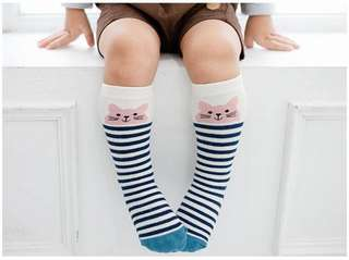 Blue Kitten Knee Socks
