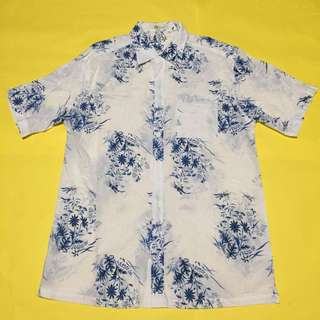 White and Blue Floral Patterned Button Down Polo
