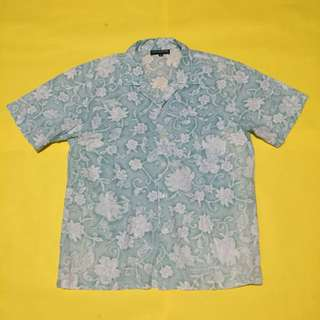 Light Green Floral Patterned Button Down Polo