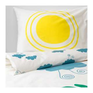 [IKEA] DJUNGELSKOG Quilt cover and pillowcase, animal, cloud