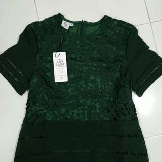 Beautiful green lace top with lining - price reduce $7