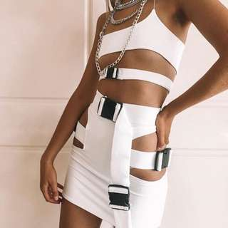 RENT white buckle skirt top set