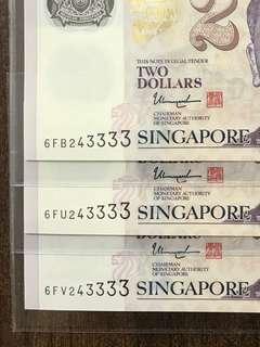 3333 Identical UNC $2