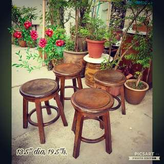 Vintage Wooden Stools, strong and sturdy. All 4pcs for $80 offer or each $35. Sms 96337309 for fast deal.
