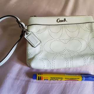 Authentic Coach Wrislet - White leather