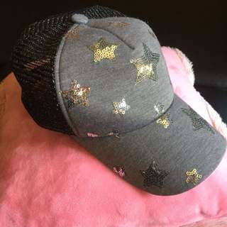 Gray Cap with Sequin Thingies