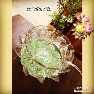 1970s Vintage Glass Cocktail Bowl with 12pcs glass cups with Raised Grapevine motifs. Complete with plastic lader. Unused, $10 clearance offer! Sms 96337309 for fast deal.