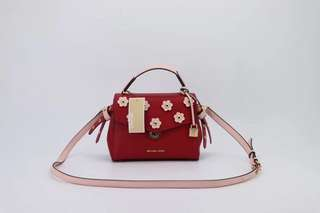 Michael kors Bristol floral appliqué leather crossbody - red