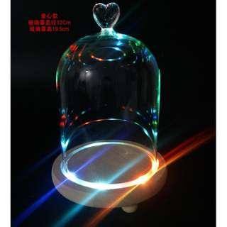 永生花玻璃罩/ 保鮮花罩/ 玻璃花瓶/ 防塵罩 (七彩燈座)