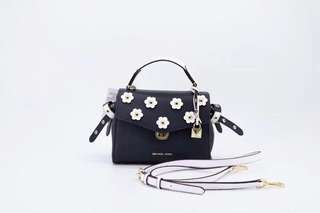 Michael kors Bristol floral appliqué leather crossbody - navy x white