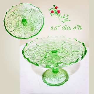 1930s Vintage Green Peranakan Footed Plate, rarely with such pretty raised flower motif. This is one-size Larger than the other small ones and much harder to come by. $48, Sms 96337309 for fast deal.