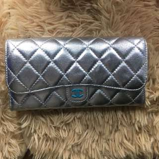 Channel Silver Leather Wallet
