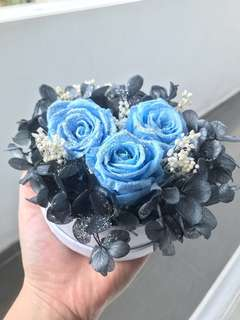 Light Blue Preserved Roses Flower Bouquet
