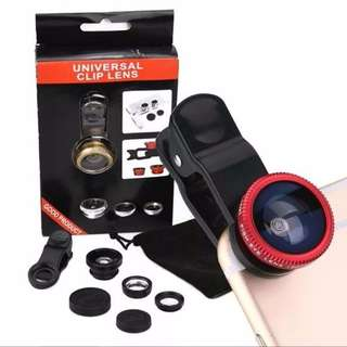 UNIVERSAL 3 IN1 FISHEYE/WIDE ANGLE/MACRO CAMERA CLIP-ON LEN