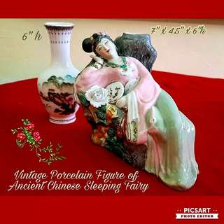 Vintage Hand-made Hand-Painted Porcelain figurine of Ancient Chinese Maiden holding a fan and lying besides flowers. Large, size as in photos. Good condition. $78 offer. Comes with vase. Sms 96337309 for fast deal.