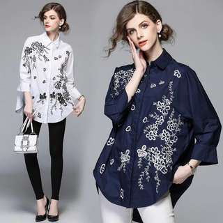 (S~XL) European Station Women's High-End Heavy Embroidery Embroidered Shirts Loose Shirts