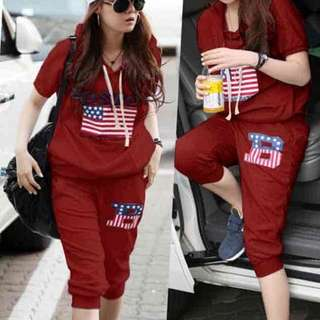 [Stelan Boston Maroon LO] setelan wanita boston babyterry maron