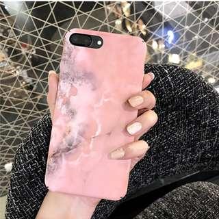 韓國粉色簡約磨砂大理石紋手機殼 蘋果iphone6/6p/7/7p