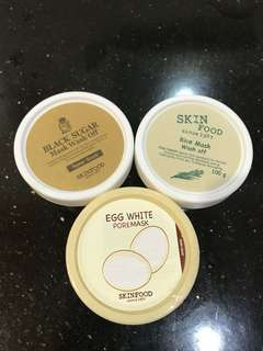 Skinfood skin food egg white poremask , black sugar , rice mask wash off share in jar 10g, 20g, 30g