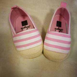 Baby Shoes- pink and white stripe loafers
