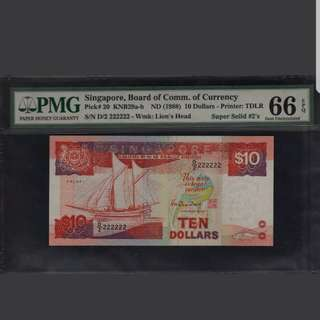 D/2 222222 Singapore Ship $10 Super Solid PMG 66 Gem UNC EPQ Rare