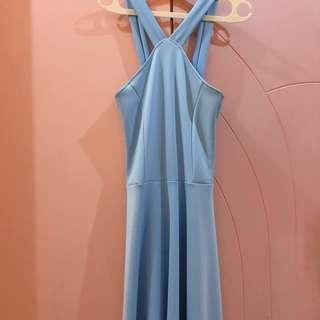 Halter Long Dress Prom Soft Blue