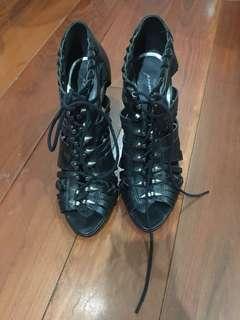 Topshop Premium caged booties in black