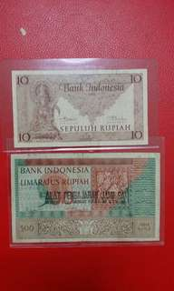 1952 INDONESIA 10 & 500 RUPIAH BANK NOTES