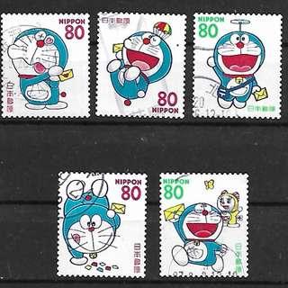 日本祝福郵票G3哆啦A夢(機器貓)信銷郵票5全