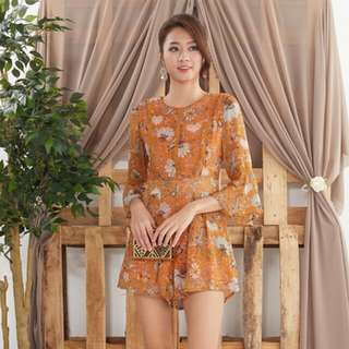 Ninth Collective ROSETTA FLORAL ROMPER IN MARIGOLD XL