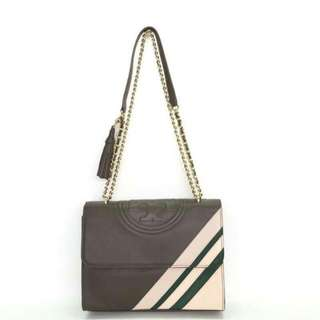 Authentic Tory Burch Fleming Convertible Dark Nicotine Stripes Bag🌸🌸 (khaki-pink-olive stripes) . Only idr 3,2jt Grab yours now🌹🌹