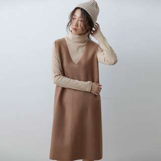 Korean style camel / khaki / light brown suede dress (inner top available too)