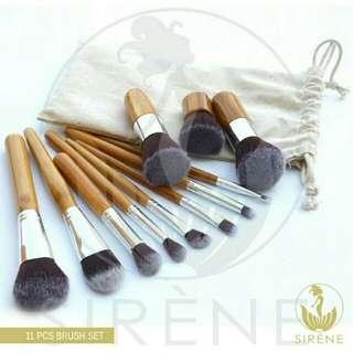 Makeup Bamboo Brush 11pcs w/ pouch