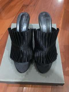 Charles & Keith Pleated Satin Mules in black