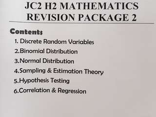 H2 Mathematics Revision Package