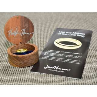 [New in Wooden Box] LOTR The One Ring (18K Gold Plated Tungsten Carbide with Elvish Runes)