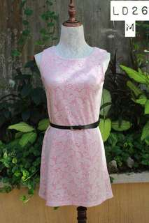 Pink Dress with White Lace